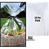 """Clear Cellophane Wrap Bags   (10 Pcs) X-Large 24"""" in X 30"""" in   2.5 Mil Thick Crystal Clear Cello Bag  ..."""