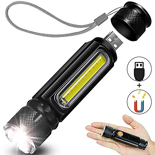 USB Rechargeable Tactical Flashlight, Side Built-in COB Work Light (Black, 1Pack) -