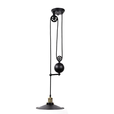 Fuloon edison industrial pulley pendant lights adjustable wire lamps fuloon edison industrial pulley pendant lights adjustable wire lamps retractable lighting christmas giftblack mozeypictures Image collections