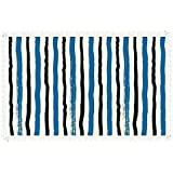 """iPrint 55""""x120"""" Rectangle Polyester Linen Tablecloth,Abstract,Vertical Striped Colorful Paintbrush Bands Stripes Hand Drawn Artful Print,Violet Blue Black,for Dinner Kitchen Home Decor"""