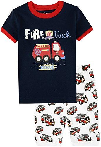 Boys Fire Truck Pajamas Kids Cotton Sleepwear Summer Childrens Clothes 2 Piece Shrot Sets Size 10