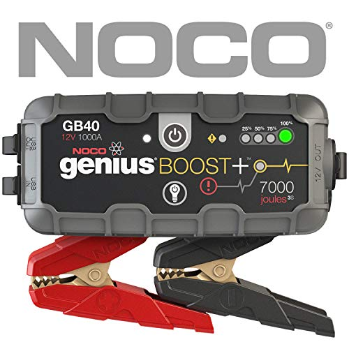 NOCO Boost Plus GB40 1000 Amp 12V UltraSafe Lithium Jump Starter for up to 6L Gasoline and 3L Diesel Engines]()