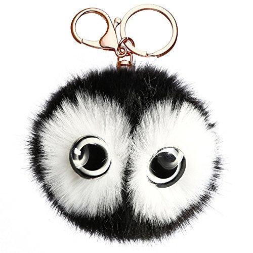 Charm Pendant Keychain - HS Lovely Big Eyes Plush Pom Ball Decorated Charm Pendant Key Chain for Car Handbag Key Ring (Black)