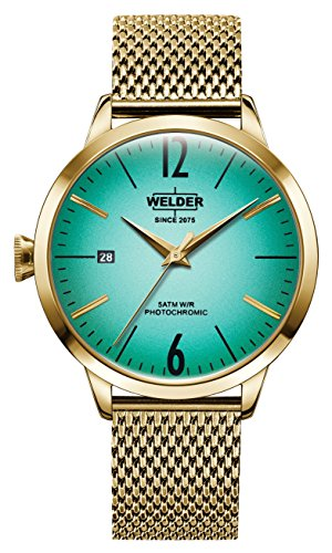 Welder Moody Stainless Steel Mesh 3 Hand Gold-Tone Watch with Date 38mm