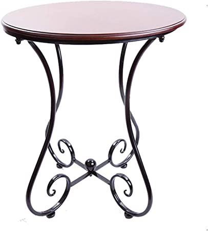 Axdwfd Round Table Solid Wood Tabletop Wrought Iron Table Frame