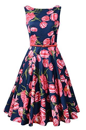 Floral Tulip Dress - Chicanary Women's Floral 1950s Rockabilly Cotton Vintage Dress (X-Large, Tulip)