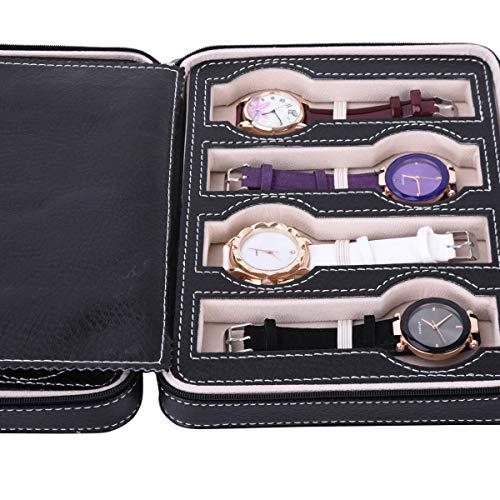 Autoark 8 Slot Leather Portable Travel Watch Case Storage Organizer,Black,AW-034 by Autoark (Image #4)