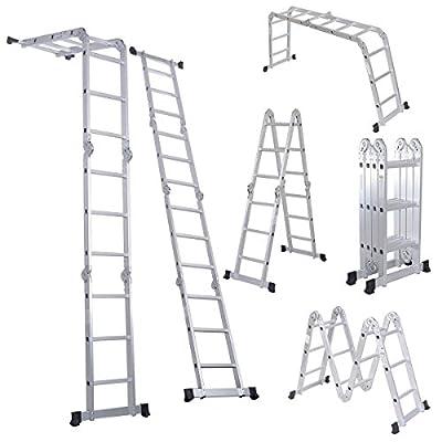 Luisladders Aluminum Multi-Purpose Extendable Ladder Folding Step Ladder Locking Hinges