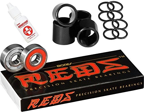 Bones Bearings Reds Bearings (8 Pack w/ Spacers & Washers & Speed Cream)