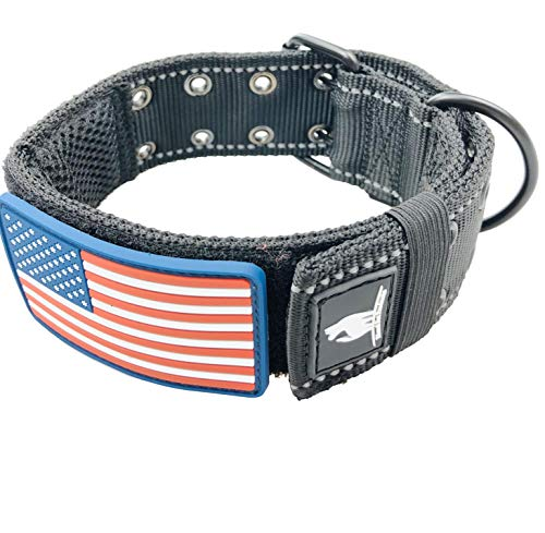 Diezel Pet Products Dog Collars K9 Harness Tactical Military Style – 2″ Two Inch Wide Heavy Duty Thick Nylon Webbing for Strong Large XL Big Dogs – Metal Two Pin Belt Buckle – USA American Flag Patch