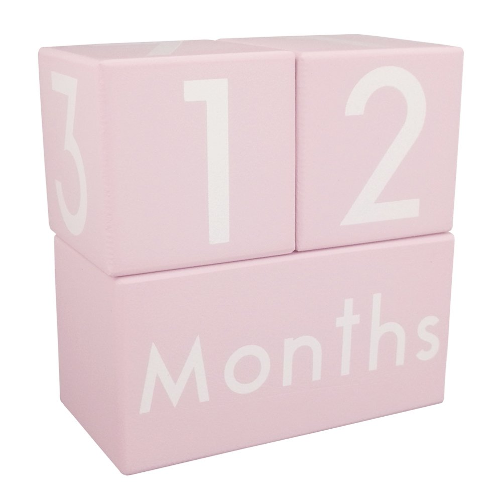 CICINY Age Blocks for Baby Pictures Wood Newborn Photography Props and Milestone Keepsake Gifts to Boy Girl Baby Or Pets (Pink) by CICINY (Image #1)