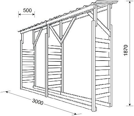 Estante para leña, armario de madera con techo de chapa ...