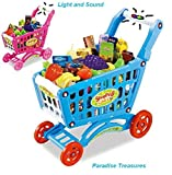 Paradise Treasures Blue Pretend Play Shopping Cart Toy for Kids with 3 in 1 Grocery Cart with Light and Sound (78) pc Grocery Set (US Seller)