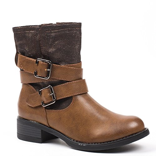 Ideal Shoes, Damen Stiefel & Stiefeletten , Braun - Camel - Größe: 37