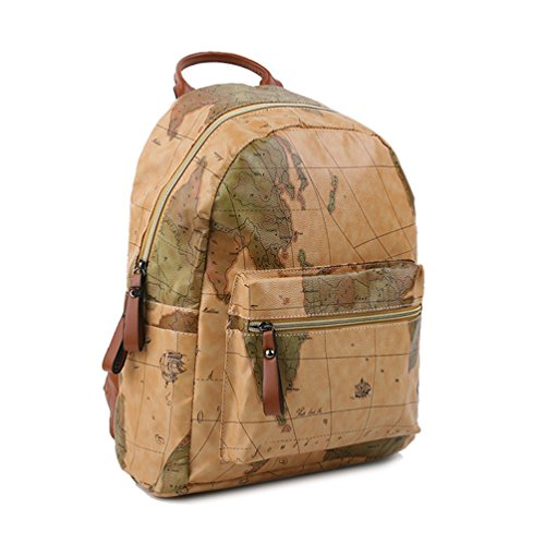 Copi Women's Map Print Pattern Collection Fashion Backpack One Size Khaki ()