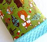Toddler Pillowcase Minky - 12 x 16 Pillowcase - Travel Pillowcase - Woodland Animals - Gender Neutral - Unisex