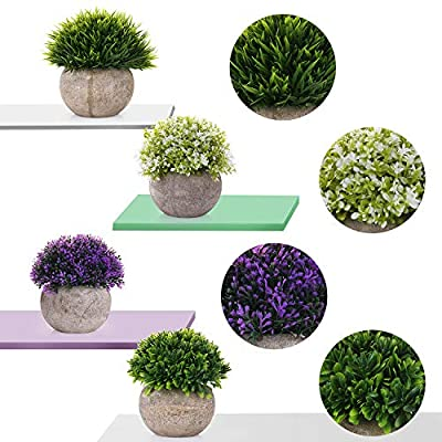 EKKONG Artificial Plants Mini Fake Plastic Green Colorful Flower Topiary Shrubs with Gray Pot for Home Décor Bathroom Small Artificial Faux Greenery Potted Plants – Set of 4 (4 PCS)