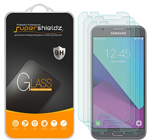 [3-Pack] Supershieldz for Samsung Galaxy J3 Eclipse / J3 Emerge / J3 Prime Tempered Glass Screen Protector, Anti-Scratch, Anti-Fingerprint, Bubble Free, Lifetime Replacement Warranty