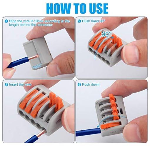 Conectores de bloque de terminal de cable,Preciva 100 Piezas conectores de cable compacto con palanca de empuje con resorte