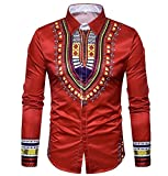 Pivaconis Men's Autumn Long Sleeve Africa Printing Floral All-match Shirt Red L