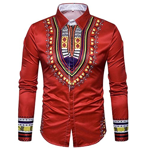 Pivaconis Men's Autumn Long Sleeve Africa Printing Floral All-match Shirt Red L by Pivaconis