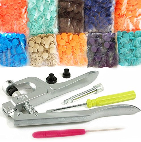 KAMsnaps Starter Pack: KAM Snaps, Awl and Snap Press Pliers for Plastic Snaps No-Sew Button Fastener Setter Hand Tool for Clothes, Cloth Diapers, Bibs, Unpaper Towels (100 Rugby Snaps)