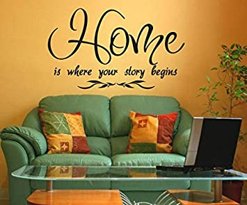 Dailinming PVC Wall Stickers English HOME STORY BEGINS Sofa Living Room Bedroom Home DecorWallpaper94cm X55