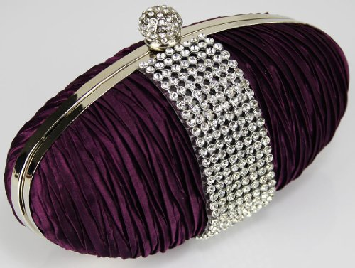 Satin Trim UK Crystal With DELIVERY Ruched Clutch Purple Gorgeous FREE xCnYqw6HUE