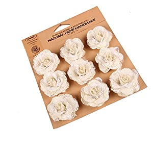 Junxia Ivory Hessian Burlap Rose Flowers with Lace for Rustic Wedding Party Decoration (9pcs)(Small) 51