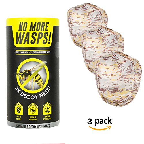 The World's Best Wasp Deterrent - Repel Wasps with a Fake Nest (3 Pack of Decoy Wasp Nests) by The World's Best