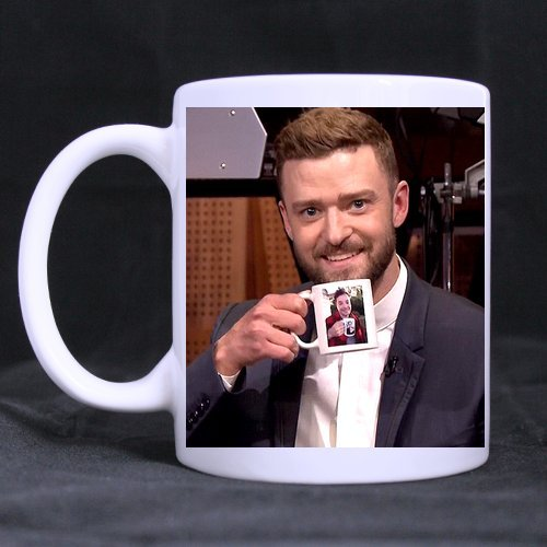 Novelty Design Custom Justin Timberlake & Jimmy Fallon Mug 11 Oz White Coffee Mug Tea Cup Twin Sides Printing-0383