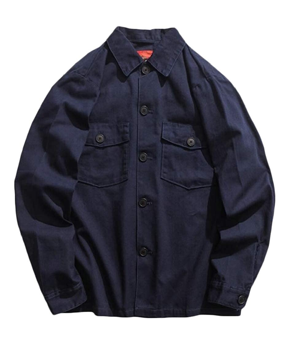 desolateness Mens Military Long Sleeve Button Down Dress Shirts Top