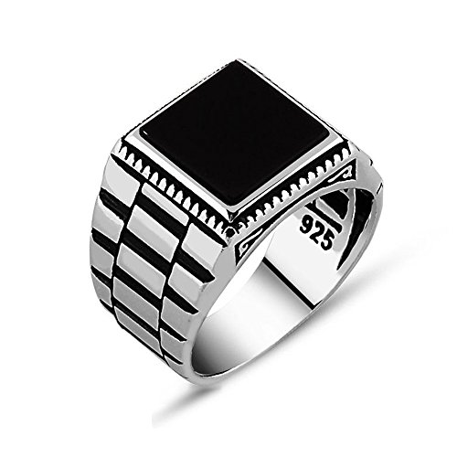 Chimoda Mens Solitaire Silver Ring Watch Design 925 Sterling with Black Onyx Stone ()