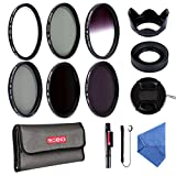 Beschoi 58mm UV Protection Lens Filters Filter Kit (UV + CPL + ND2 + ND4 + ND8, Graduated Color Gray) Slim Lens Filter Set for DSLR Camera Included Amazing Kit Acessories