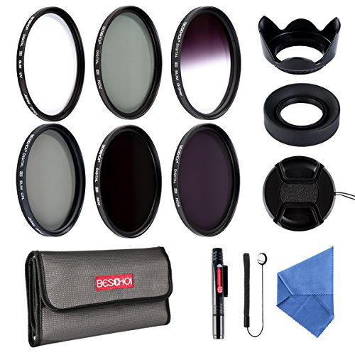 Beschoi 52mm UV CPL Filters, Neutral Density ND Filter Kit (ND2 + ND4 + ND8), Graduated Grey Color Filter, Collapsible Rubber Lens Hood, Tulip Lens Hood Bundle for Camera Lens with 52MM Filter Thread