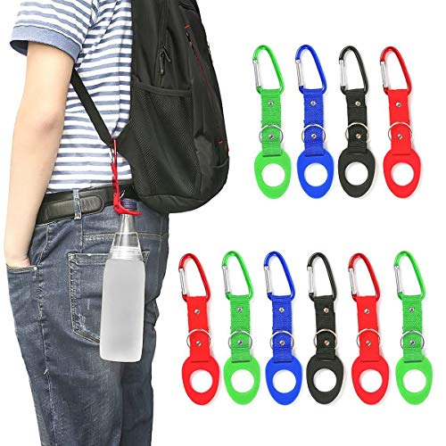 Portable Silicone Water Bottle Buckle, 10PCS Bottle Convenient Carrying Clip Hook Holder with D-Ring Hook for Camping Hiking Traveling with Emergency Aluminum Whistle by DomeStar