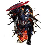 Scarvesnthangs Marvel's Captain America Peel and Stick, Removable Decal Captain America 3D Wall Art Stickers For Home Decoration and Kids Bedroom