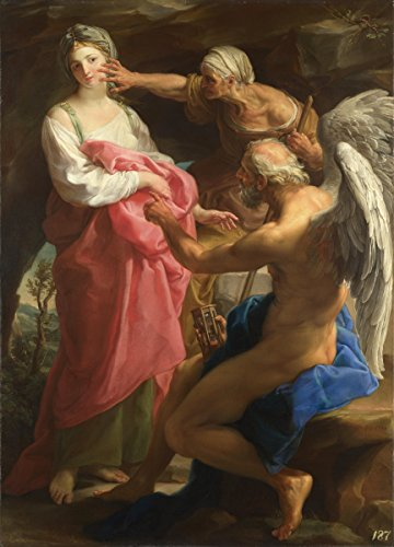 Pompeo Batoni Giclee Canvas Print Paintings Poster Reproduction Large Size(Time Orders Old Age to Destroy Beauty) (Time Orders Old Age To Destroy Beauty)