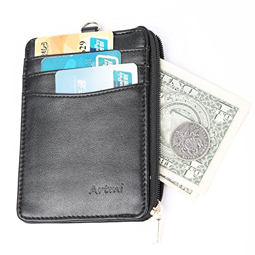 Artmi Womens Wallet RFID Blocking Secure Card Holder Compact Card Case with ID window Strong Keyring and Zipper, (Zipper Window)