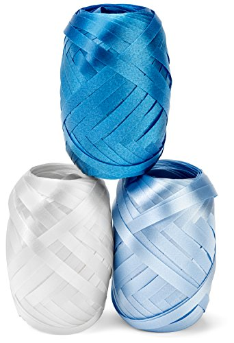 (Curling Ribbon Three Assorted Colors: 3/16 Inch x 22 Yard - 60 Total Meters - Extra Long Powder Blue, Baby Blue, White Ribbon Egg 3 Pack in Storage Organizer for Decorative Gift Wrapping & Balloons)