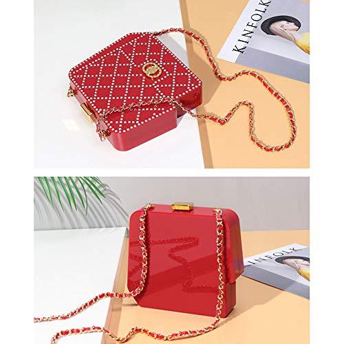 Da Qualità SHMILY Donna Tracolla Coreana Versione Della Coreana Con Da Di Diamanti Black A Borsa Incastonati Pranzo Borsa Red Alta Tracolla Borsa r5qBw8Er