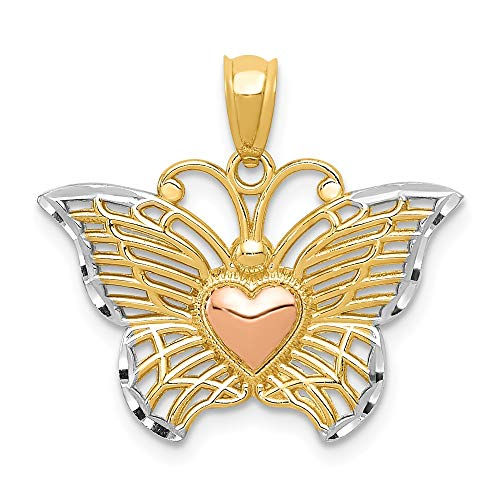 14k Yellow Gold Rose Butterfly Heart Pendant Charm Necklace Animal Fine Jewelry Gifts For Women For Her ()