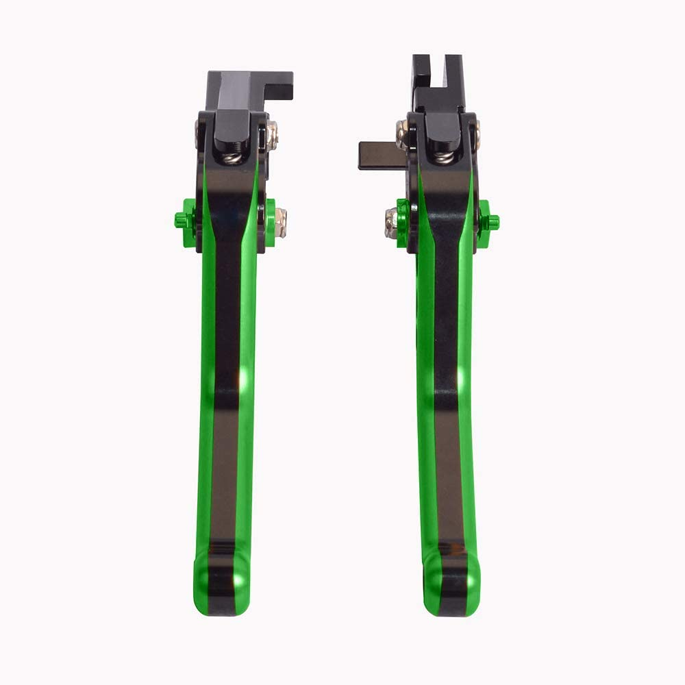 ZX12R 2000-2005 WildBee Double Colors Black Green Short Adjustable Motorcycle Brake and Clutch Levers Set Compatible for ZX9R 2000-2003