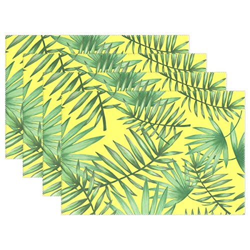 Ethel Ernest Tropical Palmetto Pattern Heat-Resistant Placemats, Polyester Tablemat Place Mat for Kitchen Dining Room 1 Piece