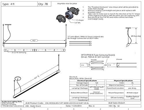 ALW CML 4' LED Pendant, Aluminum Finish, CLEARANCE ITEM by COMMALITE (Image #5)