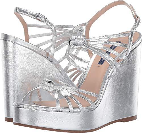 Stuart Weitzman Women's Saffron Silver Crinkle Metallic 8 M US