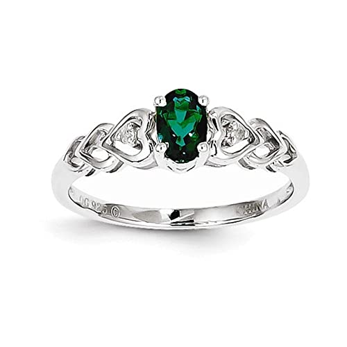Sterling Silver Rhodium-plated Created Emerald Diam. Ring