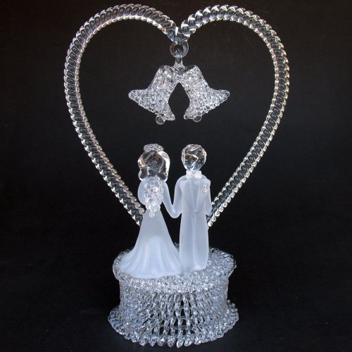 Blown Glass Cake Toppers - Bride and Groom Figurine Hand Blown Glass Wedding Cake Topper