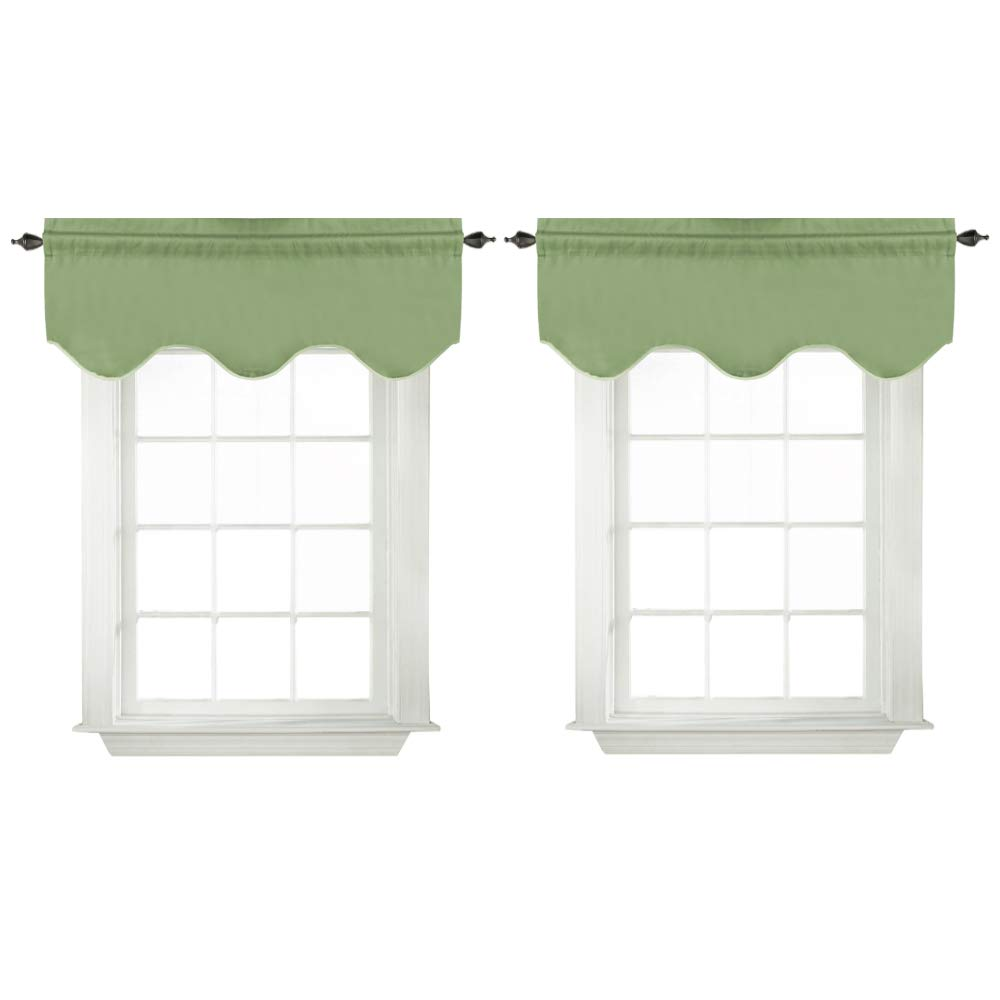 """Turquoize Blackout Curtains Scalloped Valances Short Curtain Panels for Kitchen(52"""" x 18"""" inches, Sage, 2-Packs)"""