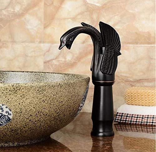 Retro moderne küche badezimmer retro schwarz bronze fertig antike mischbatterien deck montiert einzigen handgriff heißer kalter wasserhahn